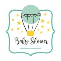 baby shower lettering with hot air balloon, hand draw style icon vector