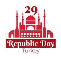 día de la república de turquía con estilo plano mezquita azul vector