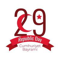 Turkey Republic Day with number 29 and crescent moon around ribbon flat style vector