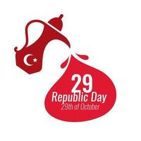 Turkey Republic Day with 29 number in teapot flat style vector