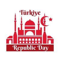 día de la república de turquía con estilo plano del monumento de la mezquita azul vector