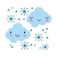 clouds with snowflakes kawaii comic character flat style vector