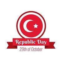 Turkey Republic Day lettering and ribbon frame flat style vector
