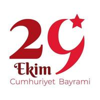 Turkey Republic Day with 29 number flat style vector