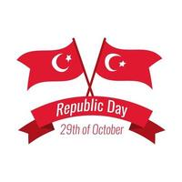 Turkey Republic Day with lettering and turkey flags flat style vector