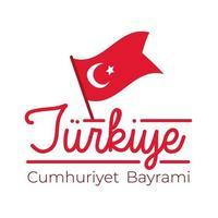 Turkey Republic Day with turkey flag on pole flat style
