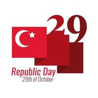 Turkey Republic Day with waving turkey flag flat style vector