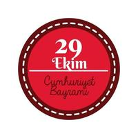 Turkey Republic Day with 29 number on stamp flat style vector