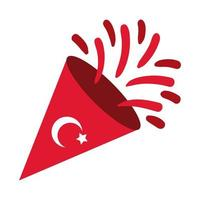 Turkey Republic Day moon and star symbol in cornet flat style vector