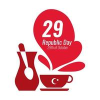 Turkey Republic Day with number 29 and teapot with teacup flat style vector