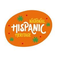 Letras de herencia nacional hispana con confeti en círculo icono de estilo plano