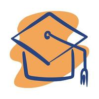 graduation hat line style icon vector