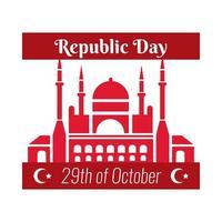 día de la república de turquía con estilo plano de fachada de mezquita azul vector