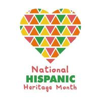 national hispanic heritage lettering in heart flat style icon vector