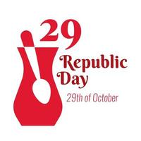 Turkey Republic Day with 29 number in teapot and spoon flat style vector