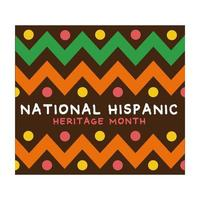 national hispanic heritage lettering with paint frame flat style icon vector