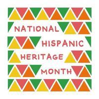 Letras de herencia nacional hispana con estilo plano de marco de patrón de triángulos