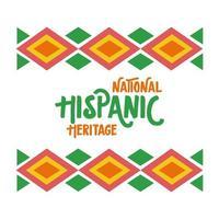 Letras de herencia nacional hispana en icono de estilo plano de marco étnico