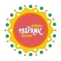 national hispanic heritage lettering in lace flat style vector