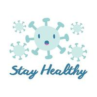 stay healthy campaign lettering with particles flat style vector illustration design