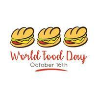 Letras de celebración del día mundial de la comida con estilo plano sándwich
