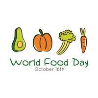 Letras de celebración del día mundial de la comida con verduras estilo plano