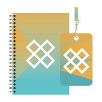 Isolated mockup notebook and personal card vector design