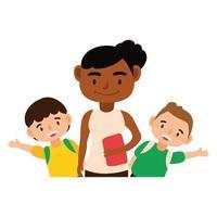 black female teacher with little schoolboys vector