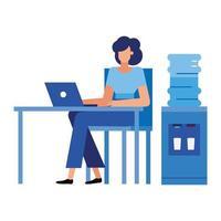 mujer en el escritorio con la computadora portátil en el diseño de vectores de oficina