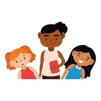 black female teacher with schoolgirls vector