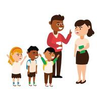 diverse teachers with students vector
