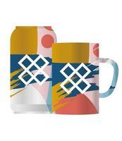 Isolated mockup coffee mug and can vector design
