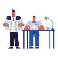 Hombres en el escritorio con laptop y noticias en el diseño vectorial de la oficina