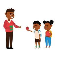 black male teacher with little students vector