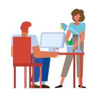 empresario y empresaria en diseño vectorial de escritorio