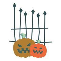 calabazas de halloween con diseño de vector de puerta