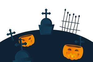 Halloween pumpkins at cemetery vector design