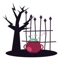 árbol de halloween con diseño de vector de cuenco de bruja
