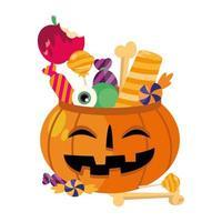 Cuenco de calabaza de halloween con diseño de vector de dulces
