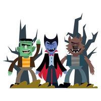 diseño de vector de dibujos animados de vampiro de halloween, frankenstein y hombre lobo