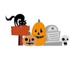 Calabazas de Halloween, gato, tumba y diseño vectorial de calavera