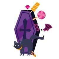 halloween cat cartoon and coffin with candies vector design