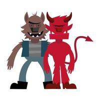 diseño de vector de dibujos animados de hombre lobo y diablo de halloween