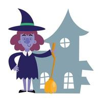 halloween witch cartoon vector design