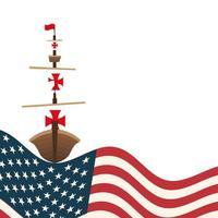 Christopher Columbus ship with usa vector design