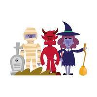 momia de halloween, diablos y diseño de vectores de brujas