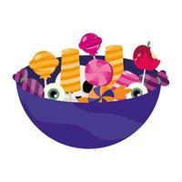 dulces de halloween en diseño vectorial de tazón