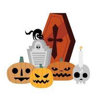 Calabazas de Halloween, tumba, calavera, velas y diseño vectorial de ataúd