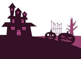 calabazas de halloween y diseño de vectores de casa