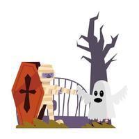 diseño de vector de dibujos animados de momia y fantasma de halloween